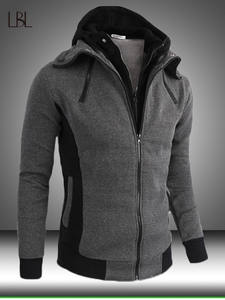 Fleece Hoodies Coats Pullover Sweatshirts Mens Streetwear Patchwork Zipper Warm Male