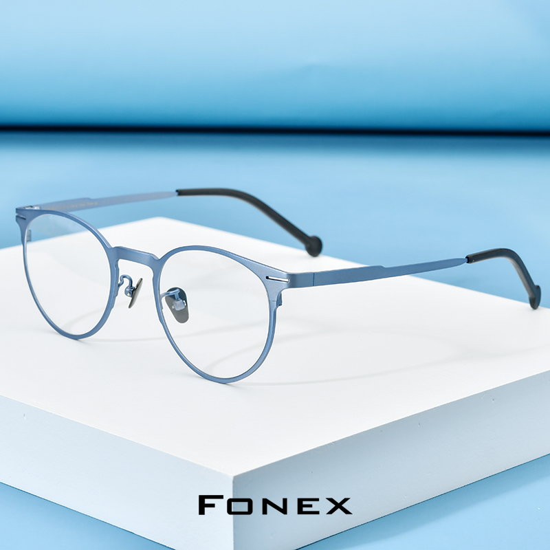 FONEX Pure Titanium Eyeglasses Frame Men Vintage Retro Round Eyeglasses Women Prescription Optical Myopia Korean Eyewear 8510