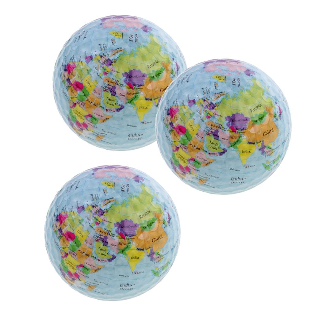 3Pcs Soft World Map Pattern Golf Practice Ball Indoor Outdoor Golf Training Ball 42.6mm Tellurion Golf Ball Golf Decor Gift