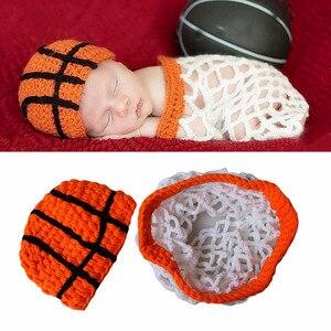 Nouveau-né Photo accessoires tricot mignon athlète basket-ball chapeaux dessin animé bébé garçon fille casquette infantile tir photographie accessoires