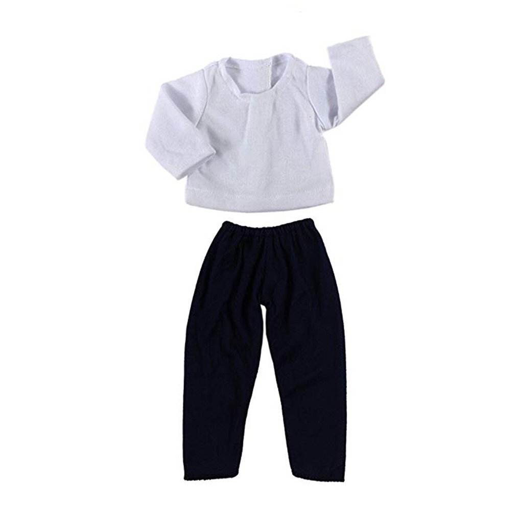 White Shirt Navy Green Pants Set Wardrobe Makeover Fits For 18