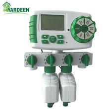 Автоматический таймер для полива и полива сада, 4 зоны, таймер для полива, 2 соленоидных клапана