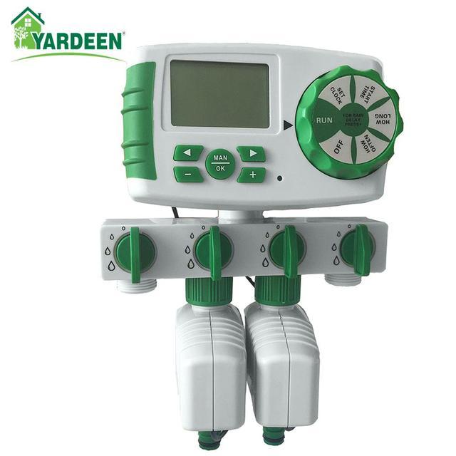 Автоматический 4 зонный таймер полива сада, таймер полива сада с 2 соленоидными клапанами
