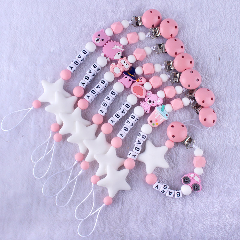 Personalized Name Pacifier Holder Clips Chain Baby Boy Girl Grey Pink Nipple Holder For Infant Feeding Dummy Clips