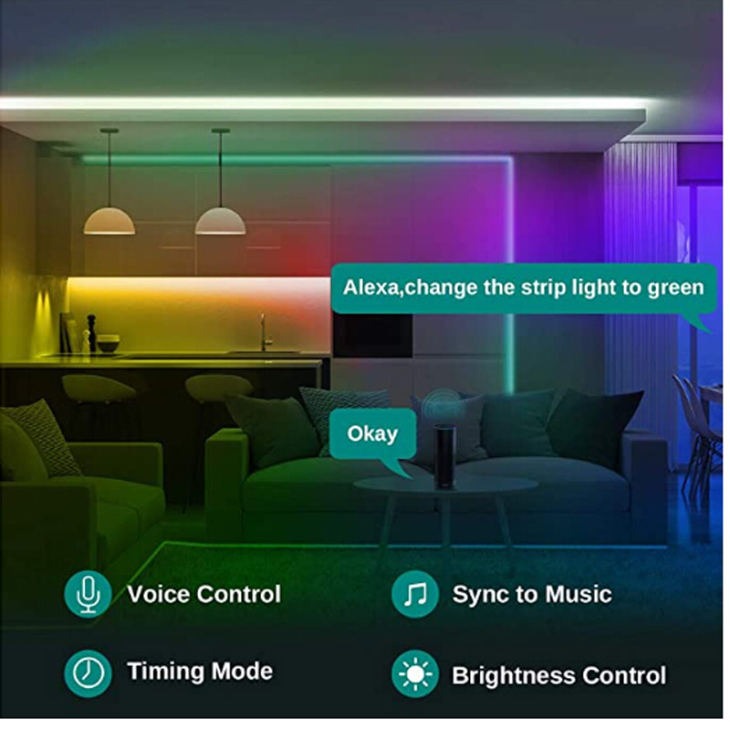 32.8Ft (10M) Smart WIFI RGB LED Light SMD 2835 RGB Waterproof Flexible 12V Power Supply Color Changing LED Strip Tape Full Set (18)