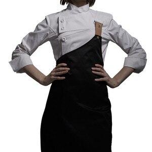 Image 1 - נקבה שחור לבן פולי כותנה ארוך שרוול חולצה & סינר מלון מסעדת שף אחיד קייטרינג מטבח צוות לבשל בגדי עבודה d33