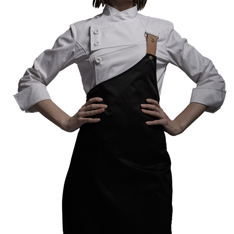 Female Black White Poly Cotton Long Sleeve Shirt & Apron Hotel Restaurant Chef Uniform Catering Kitchen Staff Cook Work Wear D33(China)
