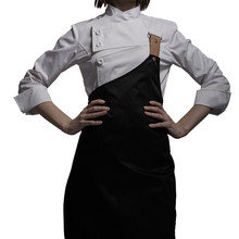 Female Black White Poly Cotton Long Sleeve Shirt & Apron Hotel Restaurant Chef Uniform Catering Kitchen Staff Cook Work Wear D33