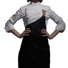 Nữ Đen Trắng Poly Áo Sơ Mi Tay Dài In & Tạp Dề Nhà Hàng Khách Sạn Đầu Bếp Đồng Phục Vụ Ăn Uống Bếp Nhân Viên Nấu Mặc Công Sở d33