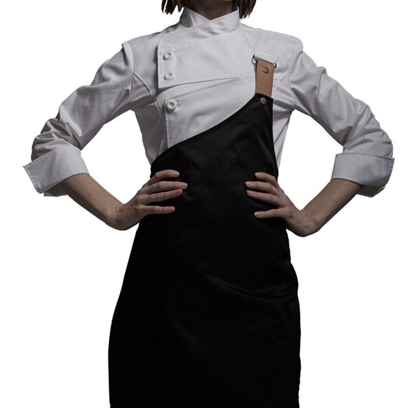 Weibliche Schwarz Weiß Poly Baumwolle Langarm Shirt & Schürze Hotel Restaurant Koch Uniform Catering Küche Mitarbeiter Kochen Arbeit Tragen d33