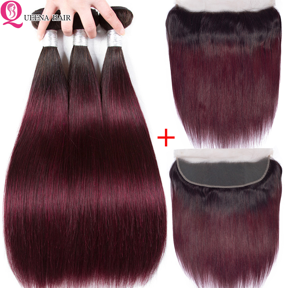 Ombre 1B/99J Human Hair Bundles With Ear To Ear Frontal 1B 99j Two Tone Peruvian Straight Hair Bundles With Frontal Closure Remy