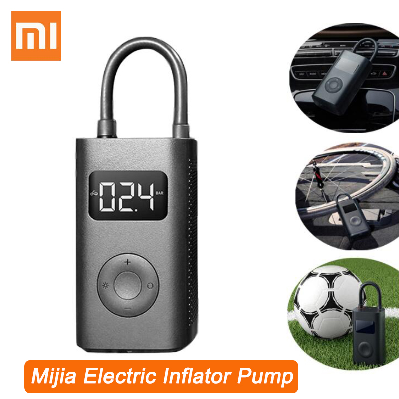 Original Xiaomi Mijia Electric Inflator Pump Portable Smart Digital Tire Pressure Detection For Bike Motorcycle Car Football image