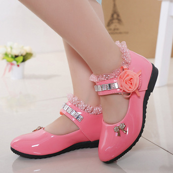 2020 New Children Elegant Princess PU Leather Sandals Kids Girls Wedding Dress Party Beaded Shoes For Girls