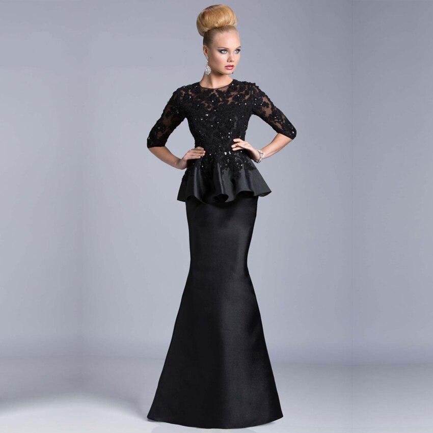 2015 Custom Made Elegant Black Winter Evening Dresses Sheath Lace Beads Half Sleeve Robe De Soiree Long Vestido De Festa Longo
