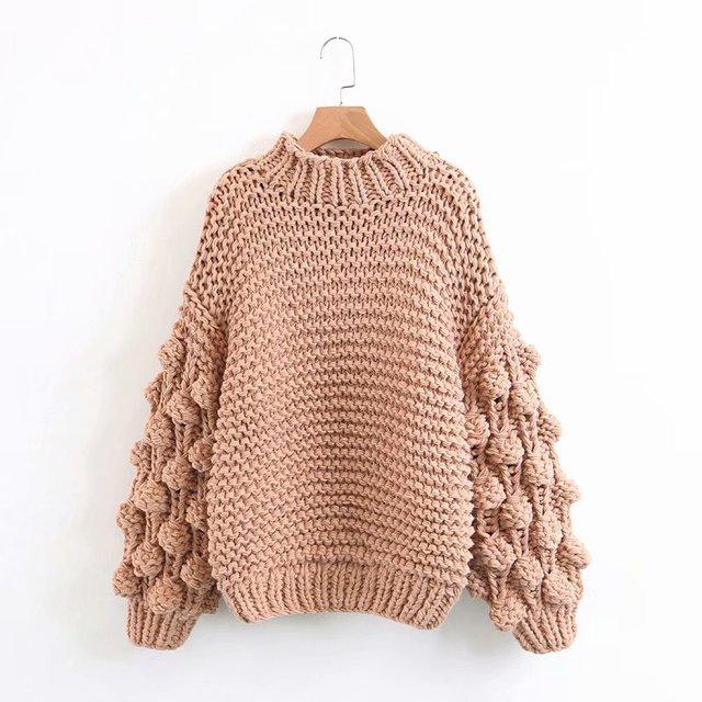 Hand Knitted Chic Handmade Ball Sweater7