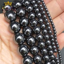 Miçangas de pedras naturais, miçangas de pedra natural lisas e pretas para fazer jóias, acessórios para pulseira diy 15 ''2/3/4/6/8/10/12mm