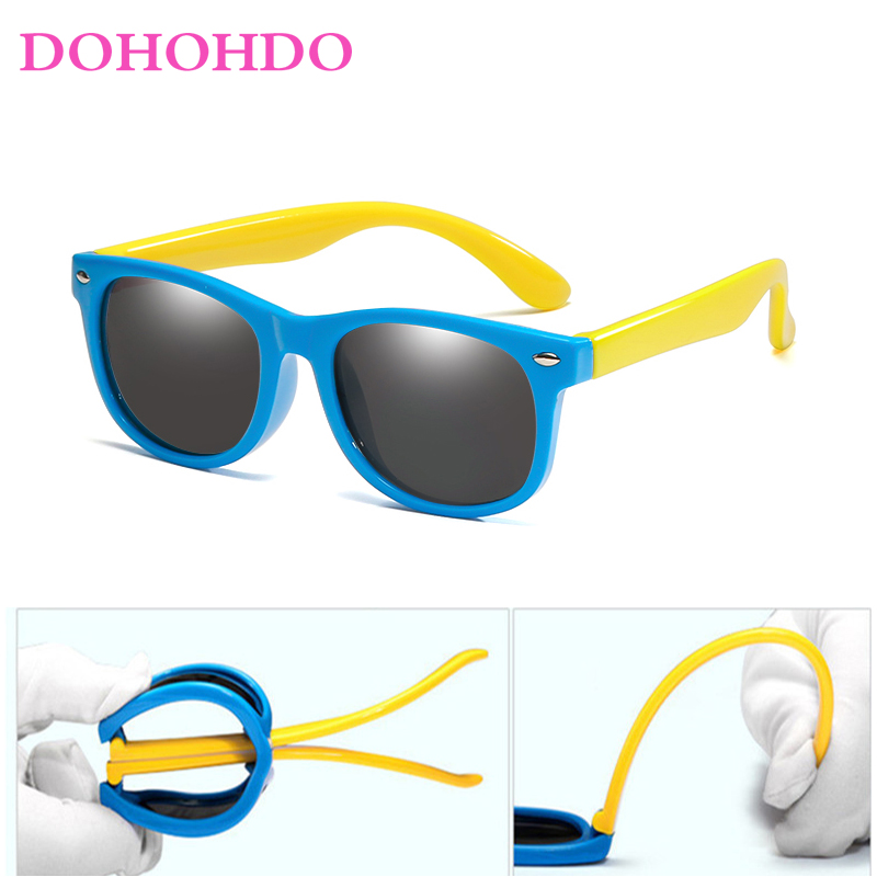 DOHOHDO Girls Boys Sunglasses Kids Sun Glasses Children Glasses Polarized Lenses TR90 Silicone UV400 Child Mirror Baby Eyewear