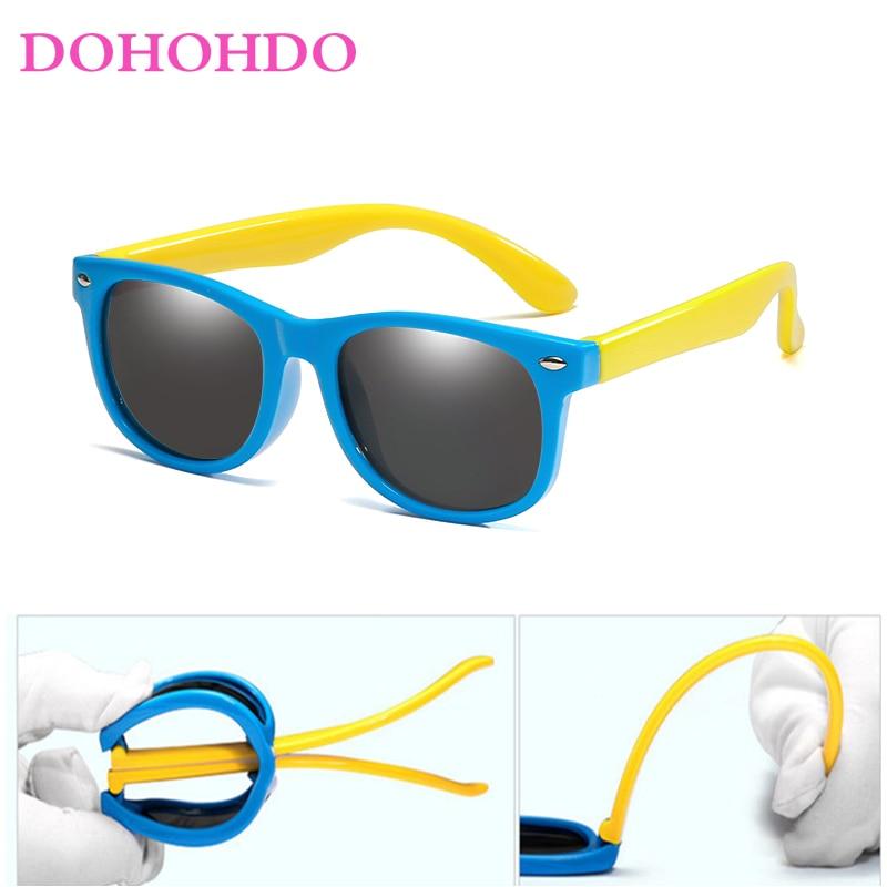 DOHOHDO Girls Boys Sunglasses Kids Sun Glasses Children Glasses Polarized Lenses TR90 Silicone UV400 Child Mirror Baby Eyewear