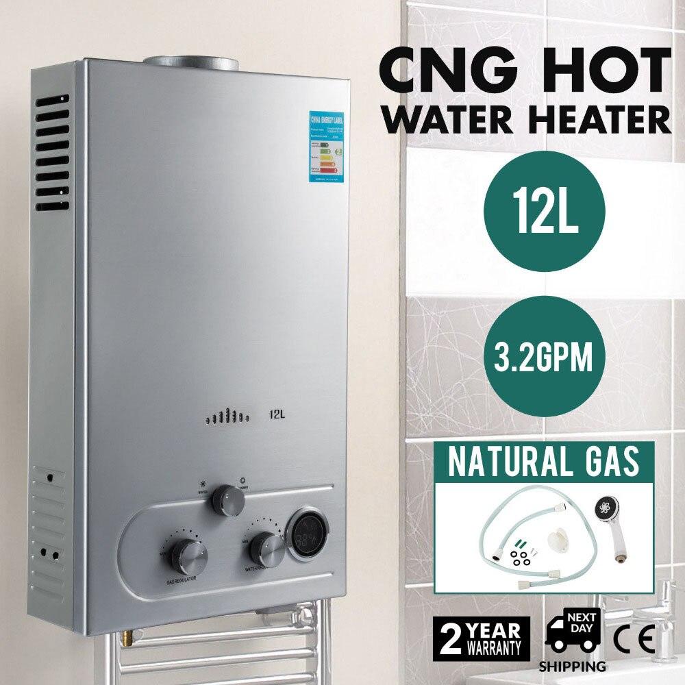 Chaudière instantanée de pommeau de douche d'affichage à cristaux liquides de chauffe-eau de gaz de la Nature 12L