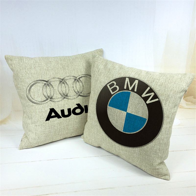 RECOLOUR New Car Brand Square  Linen Cushion Cover For Home Decorative Printed  Pillow Case Sofa Cojines 18x18in