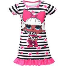 Lol surpresa criança crianças vestidos para meninas l.o.l vestido de verão novas crianças manga curta vestido de princesa roupas casuais
