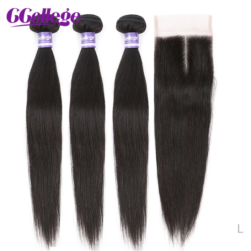 CCollege Straight Human Hair Bundles With Closure Brazilian Hair 3 Bundles With Closure Non-Remy Human Hair Extensions