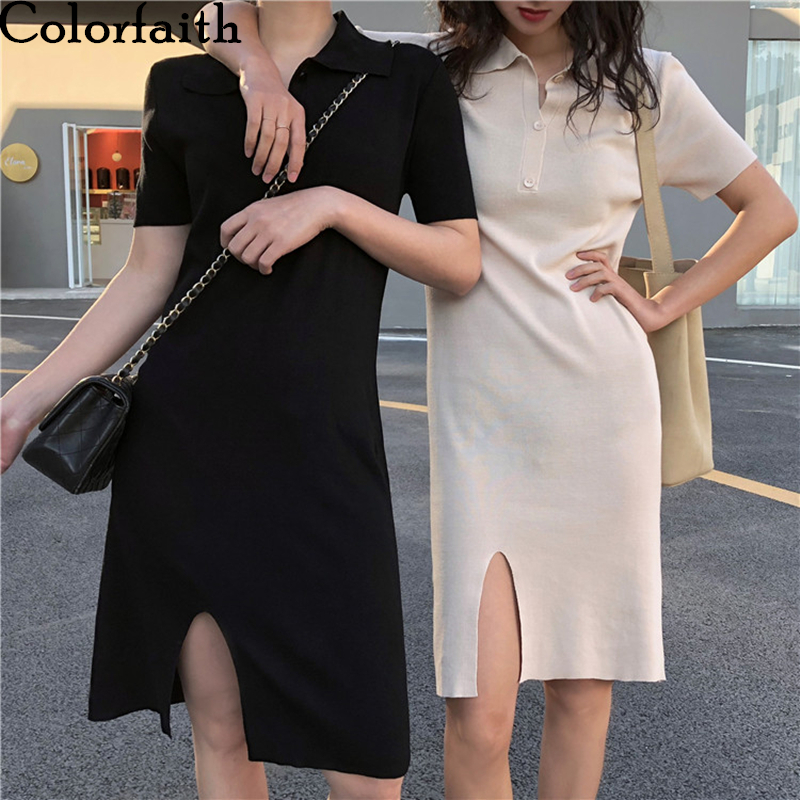 Colorfaith New 2020 Spring Summer Women Dresses Knitting Bottoming Buttons Split Elegant Casual POLO Collar Slim Dress DR4016