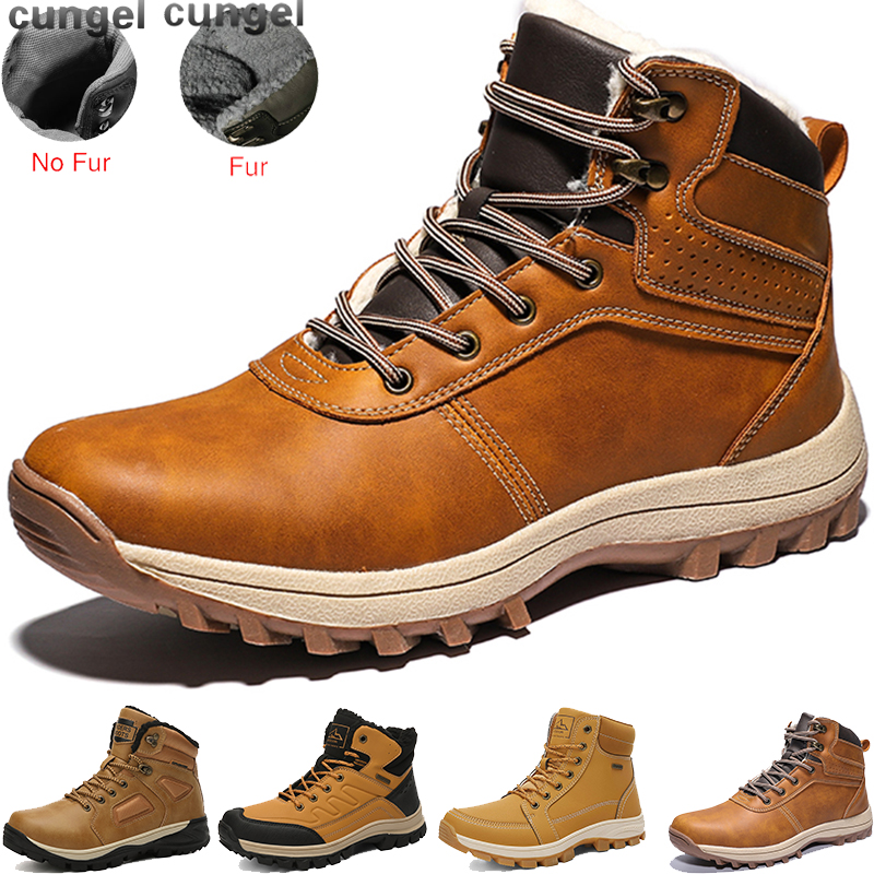 CUNGEL Men Hiking Boots Mountain Hiking Shoes High Quality Vintage British Snow Boots Autumn Winter Men Casual Ankle Boots