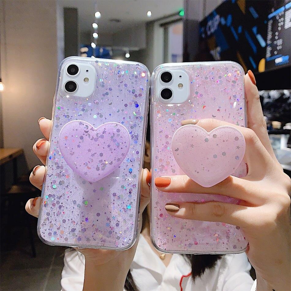 Sinocom Handa Love Heart Bling Glitter Phone Stretch Bracket Sequin Finger Ring Holder Socket