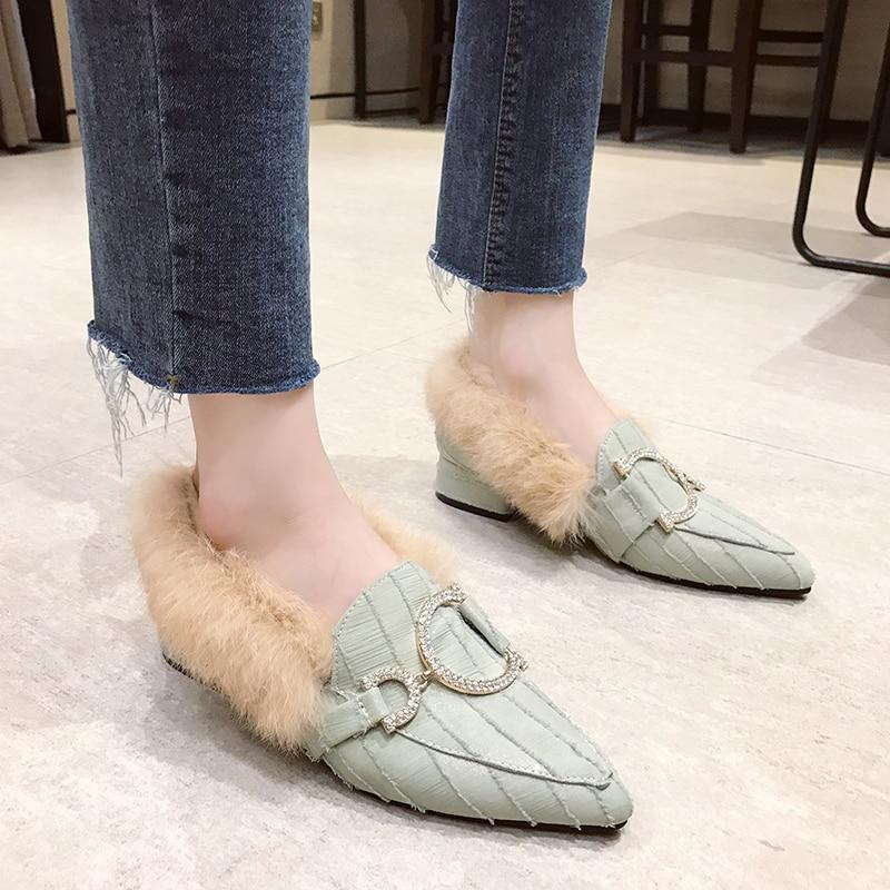 Women Plush Flats Warm Shoes Winter Plus Fur Woman Snow Ankle Boots Slip On Square Toe Comfortable Cotton Shoes Woman 39