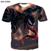JOH FIERS 2019 NEW Venom 3D Printed T-shirts Men Casual Shirt Short Sleeve Fitness T Male Tops Weight lifting Base Layer