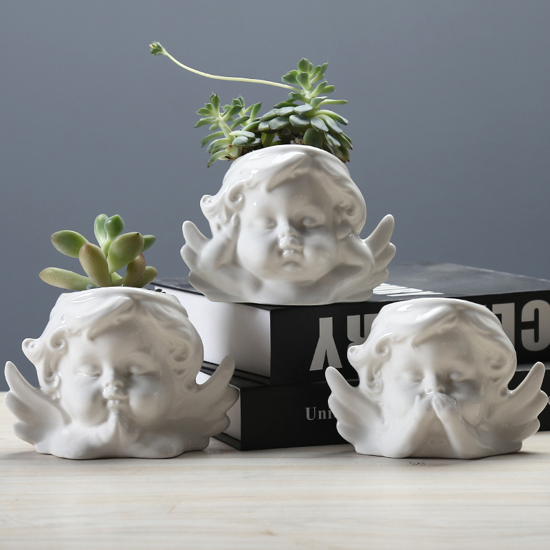Ceramic Angel Style Flower Pot Design