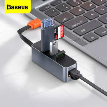 Baseus-Adaptador USB 3,0 HUB A RJ45, Lan, Multi USB3, USB 3,0, 3...