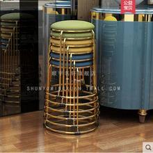 Титановая Золотая Модная креативная простая скамейка Бытовая маленькая круглая скамейка обеденная скамейка складной Макияж Красота офисная скамейка