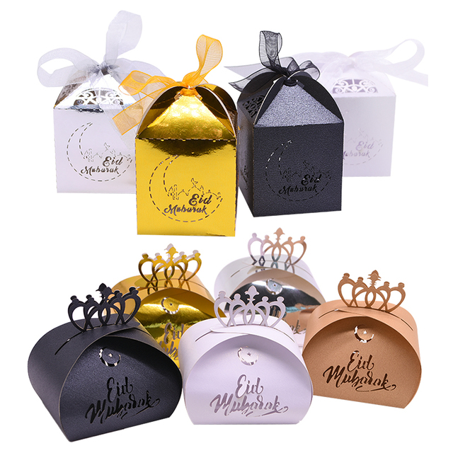 20 adet mutlu EID Mubarak DIY lazer kesim içi boş şeker hediye kutuları ramazan süslemeleri İslam Eid Mubarak parti dekorasyon