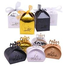 20 pçs feliz eid mubarak diy corte a laser oco doces caixas de presente ramadan decorações islâmica eid mubarak decoração de festa