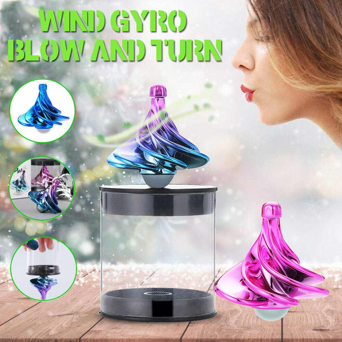 Wind Fidget Gyro Spinning Top For Children Finger Gyroscope Game Wind Blow Turn  Gyro Mini Spinner Stress Relief Fun Toy Gift