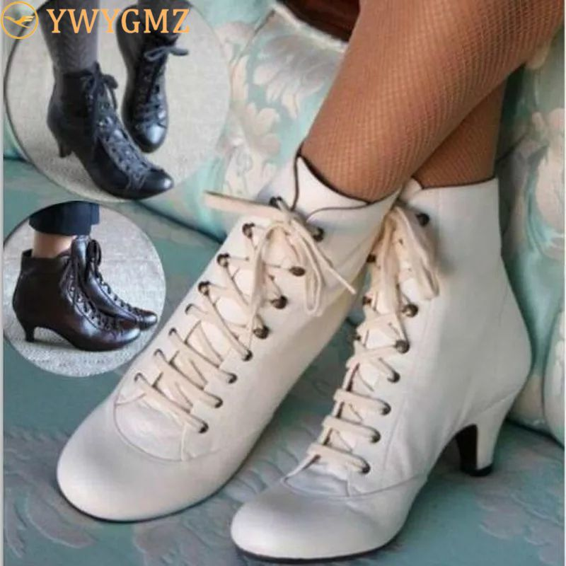 2020 New Fashion Women Autumn Ankle Boots Solid Flock Lace-Up Vintage Short Boots Pointed Toe Winter Shoes Plus Size Ladies Shoe