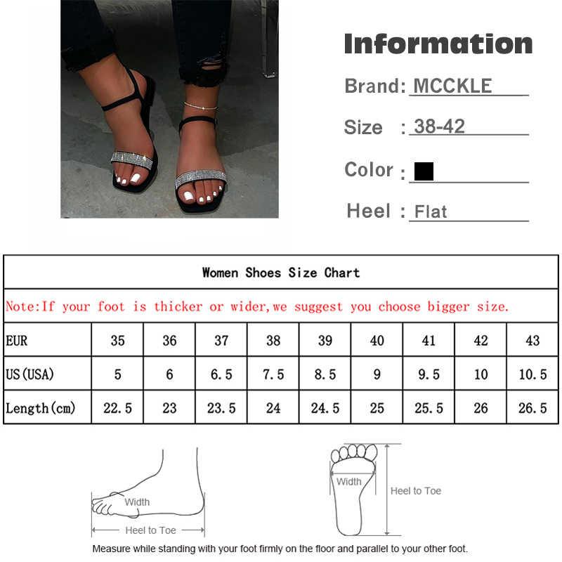 MCCKLE kadınlar yaz açık ağızlı kristal sandalet bayanlar koni topuklu ayak bileği toka askı ayakkabı kadın moda rahat kadın plaj sandalet