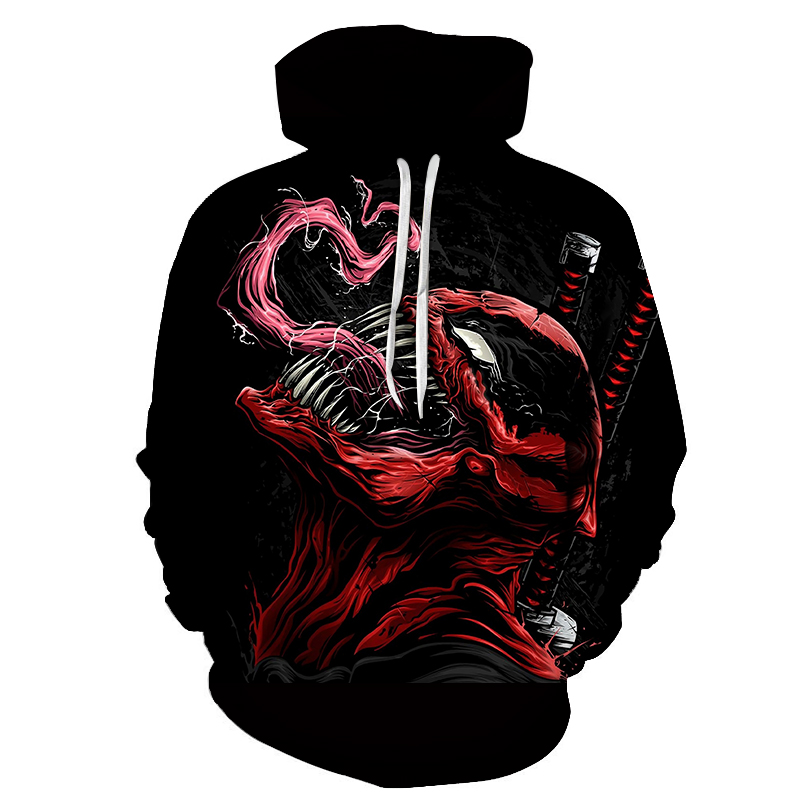 New Men's Hoodies Marvel Series 3D Printing Venom Men And Women Couples Casual Hooded Sweatshirt Fashion Wild Hooded Pullover