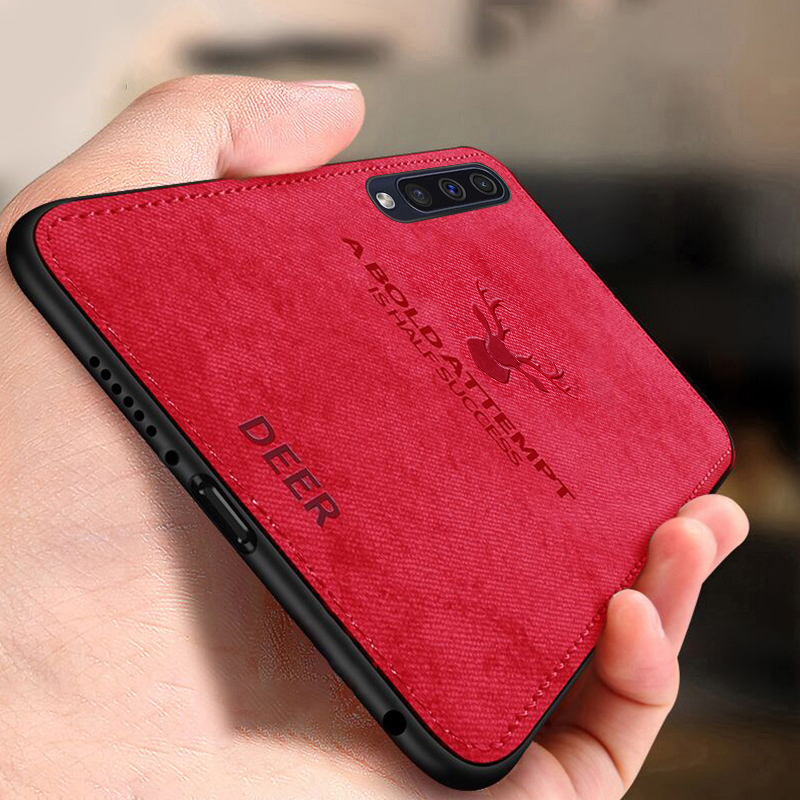 Keajor Fabric Case For Samsung Galaxy A50 Classic Bumper Soft Silicone Frame Back Cover A30