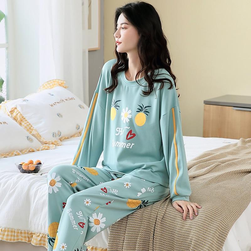 Pijamas de algodón con dibujos animados para mujer, ropa de dormir de manga larga, para casa, de talla grande, para Otoño e Invierno