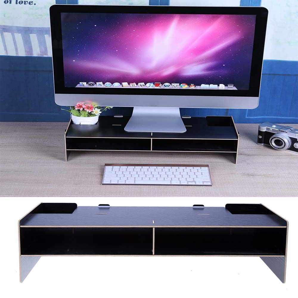 Wooden Computer Monitor Organizer Escritorio TV PC Stand Keyboard Holder  Office Desk Organizer Home Desk Storage Organizer