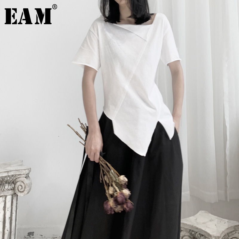 [EAM] Women White Asymmetrical Split Joint T-shirt New Round Neck Short Sleeve  Fashion Tide  Spring Autumn 2020 19A-a662