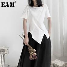 [EAM] Women White Asymmetrical Split Joint T-shirt New Round Neck Short Sleeve  Fashion Tide  Spring Autumn 2021 19A-a662