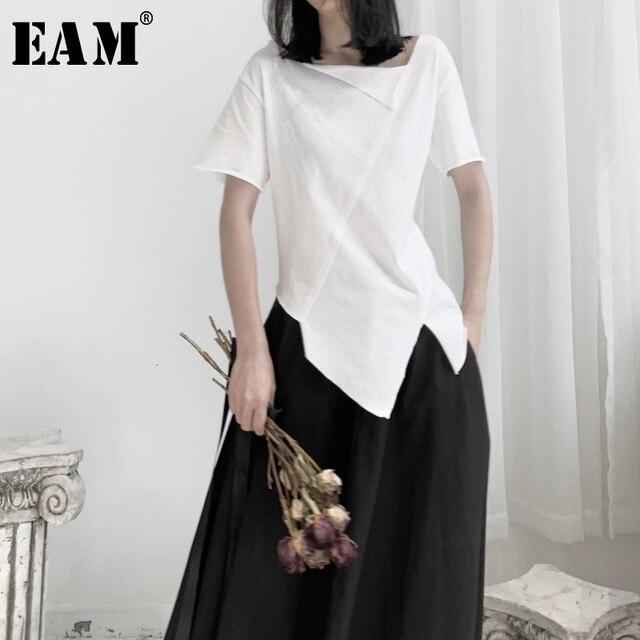 [EAM] المرأة الأبيض غير المتكافئة سبليت المشتركة تي شيرت جديد الجولة الرقبة ملابس بأكمام قصيرة المد الربيع الخريف 2020 19A a662