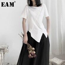 [Eam] feminino branco assimétrico divisão conjunta camiseta novo em torno do pescoço manga curta moda maré primavera outono 2020 19a a662