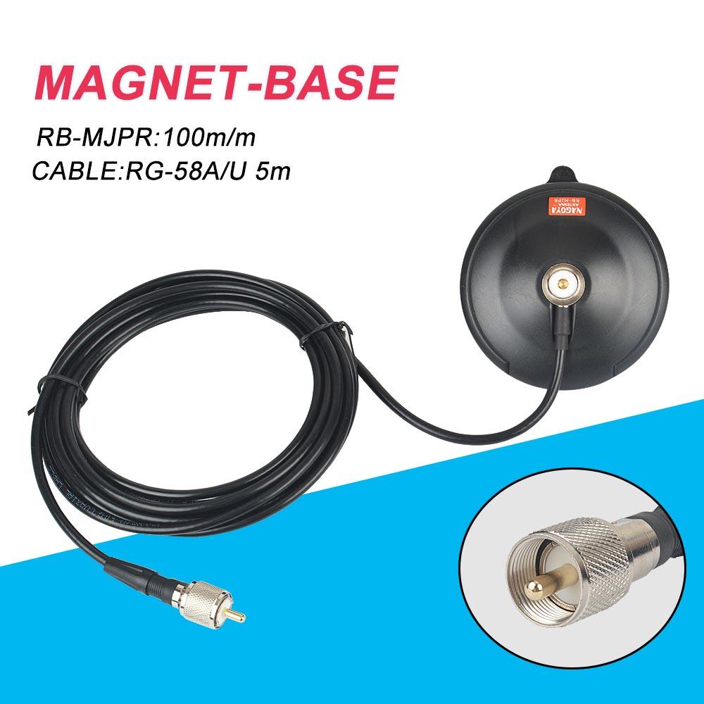 NAGOYA RB-MJPR 10cm Mobile Car Antenna Magnetic Roof Mount Base & 5m Cable UHF-M PL259 Connector Mobile Truck Taxi Antena Base