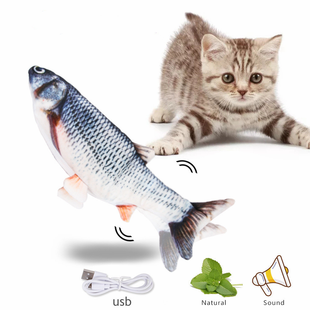 Magic Electronic Pet Cat Funny Toy USB Charging Simulation Fish Toys For Cat Chewing Playing Plush Interactive Catnip Gift