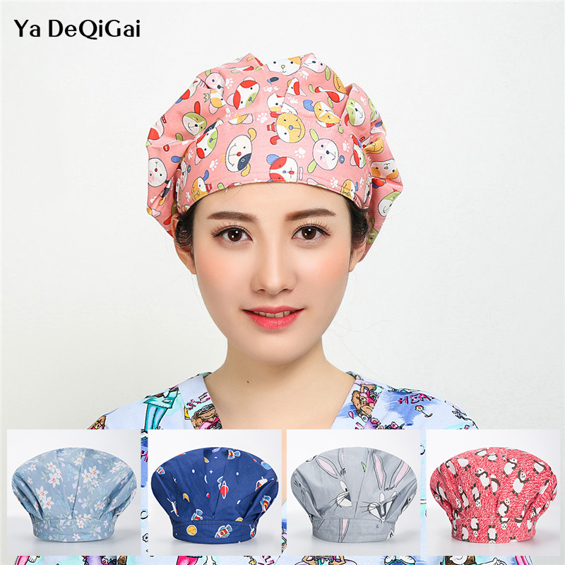 High Quality Surgical Caps Women Surgery Scrubs Medical Hat Pet Hospital Doctor Caps Printed Pharmacist Beauty Salon Working Hat